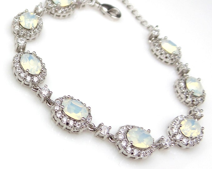 bridal bracelet bridesmaid jewelry bridal wedding prom christmas party gift swarovski oval white opal rhinestone cubic zirconia bracelet