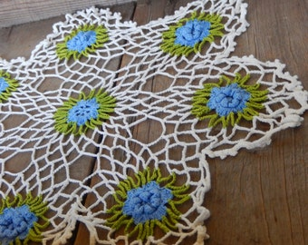 Vintage Doily Romantic Cottage Chic Hand Crochet Blue Roses Shabby Kitchen or Nursery Decor