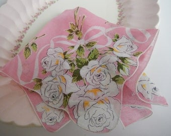 Vintage Pink Ladies Hankie White Rose Bouquet Shabby Flower Decor