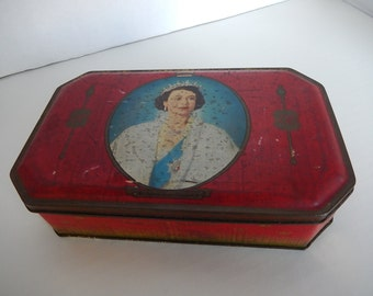 Vintage Tin Rustic Metal Candy Box Queen Coronation 1953 Home Decor Bensons English Toffee