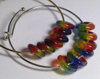 Glass Lifesaver Charm Bracelet,  Rainbow Bead Jewelry, Bangle, Pride Bracelet, ART Teacher Gift, Artist Gift, Handmade Fused Glass, LGBT