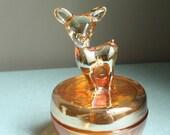 Amazing Iridescent Marigold Glass Fawn Dish