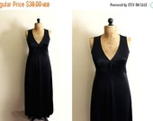 50% OFF SALE vintage dress 70s black maxi disco 1970s slip gown womens clothing size small s 4 6