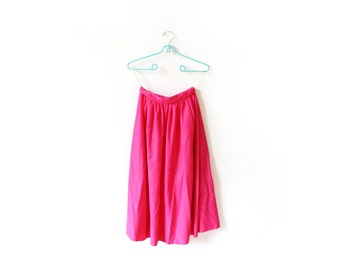 vintage skirt 70's hot pink high waisted full midi 1970's women's clothing size xs s extra small