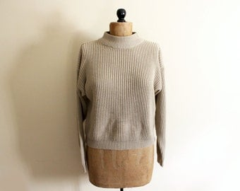vintage sweater 80s tan womens clothing neutral taupe camel turtleneck normcore 1980s size medium m