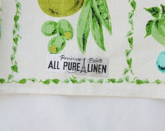 Vintage 50s-60s New With Tags Parisian Prints Linen Tea Towels Retro Mid Century