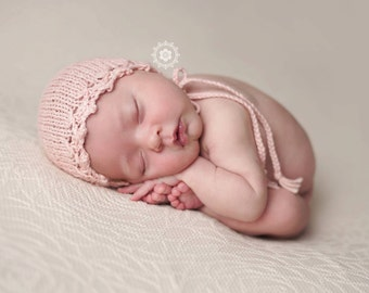 Knit newborn hat, photography prop, pastel baby hat, Alpaca yarn, Spring Bonnet, Newborn Photo Prop, Hand knit baby hat, Lace hat