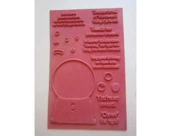 rubber stamp sheet - GUMBALL machine and phrases - sweet, unmounted rubber stamps
