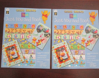 Winnie the Pooh scrapbook paper - 2 books - Paper Pizazz - Just You and Pooh - 12 pages each