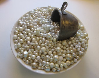 vintage bead mix - WHITE bead mix - 4 cups, vintage beads - vintage plastic beads, faux pearls, salvaged beads