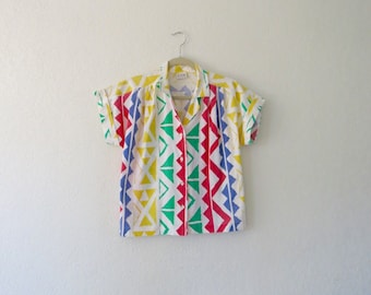 PRIMARY colors cropped button up medium