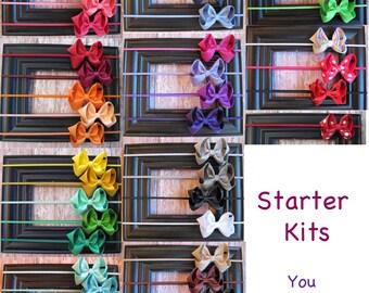 Newborn Baby Starter Kits - Small or Ultimate- Small Bows - Headband Hair clip - Newborn bow - skinny elastic - bow headband