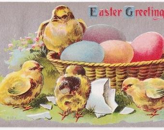 Chicks & Eggs - Antique Easter Postcard - Easter, Easter Postcards, Chicks, Chickens, Easter Eggs, Eggs, Baskets, Spring, Paper, Ephemera