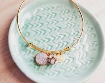 Personalized druzy cluster bracelet, pretty modern jewelry