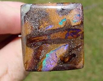 Australian Boulder Opal Cabochon 24.5 carats Square Stone  16T162 #3