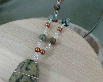 Green Agate Gemstone And Orange Freshwater Pearl Necklace With Pendant