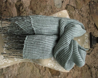 Powder blue and chocolate brown striped linen scarf, Plaid linen scarf, Handwoven linen scarf, Checked linen scarf, limited edition scarf,