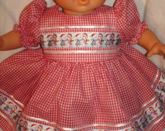 """14"""" 15"""" 16"""" American Made Girl Doll Clothes Red Check N Snowman ribbon Doll Dress Fits Baby Dolls"""