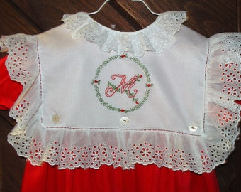 Christmas dress size 5 Button on collar  red/white hand embroidery Initial of your choice