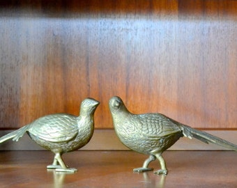 vintage brass pheasant figurines