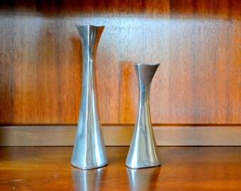 vintage midcentury modern nambe aluminum tri-corner candle stick holders - richard k. thomas