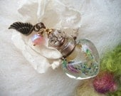 Murano Glass Perfume Bottle , Alter Flowers Fillable Aroma Oil Glass Urn Vessel Ashes, Bedside Table Tiny Wall Sconce