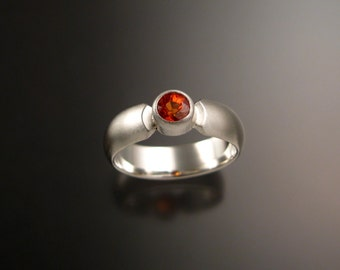 Orange Sapphire Wedding ring Natural Padparadscha Engagement ring Handmade in Sterling silver brushed finish ring made to order in your size