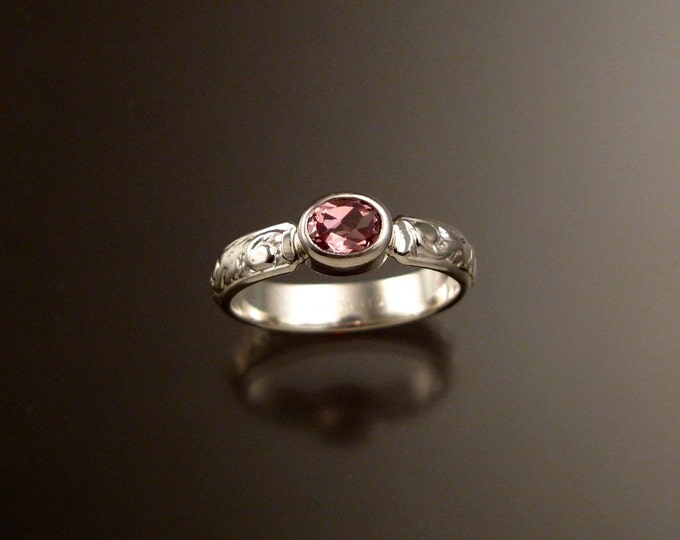 Pink Zircon ring Sterling silver Victorian floral pattern ring made to order in your size
