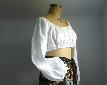 linen peasant crop top dirndl blouse shirt for renaissance medieval faire gypsy pirate belly dancer -ready to ship-