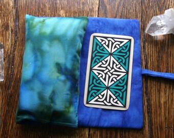 tarot deck bag oracle card wrap around pouch clutch blue green watercolor monets garden -ready to ship-