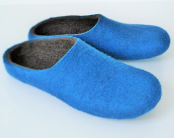 Woollen clogs Felted merino wool Slippers / House shoesin Royal Blue for Men perfect Christmas gift UK seller