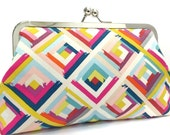 clutch purse - hip to be square - 8 inch metal frame clutch purse - large purse- square - colour - geometric - kisslock purse