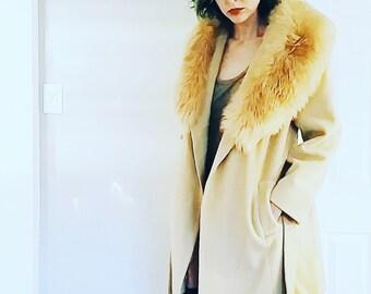 Great 1970s style Hippie BOHO Gypsy Tan Wool Penny Lane Faux Fur Jacket Coat