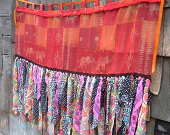 Tatter Curtain or Banner, Gypsy Boho Bohemian, Elephant Theme, Strong Colors Orange Red  56 x 44 Inches