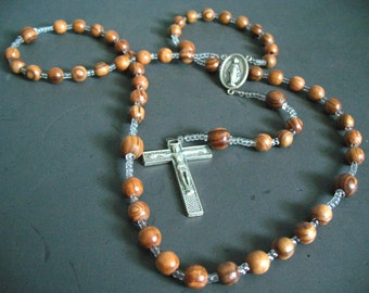 catholic rosary beads - bethlehem olive wood beads from the holy land - unique fun rosariesfor baptism, wedding gifts