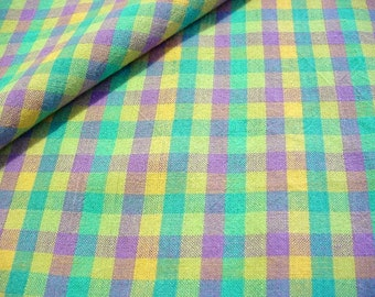 Vintage Plaid Homespun Fabric -Yellow Turquoise Plum Quilt Shop Quality Woven Cotton Rustic Pastels Easter Egg Colors