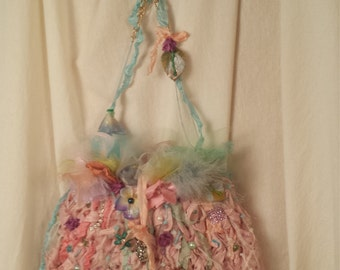 Adelle Silk Knit Fairie Purse Bracelet and Earing Set Marie Antionette Style Art to Wear in Palest Pastel Shades