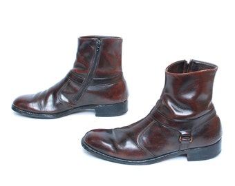 mens size 8.5 OXBLOOD leather 70s BEATLE zip up CHELSEA ankle boots women's size 10 11