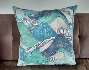 Kelly Wearstler Teal/Blue EDO LINEN Fabric Pillow Cover 18 ""