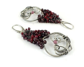Wire wrapped silver earring , ruby statement earring, dangle earring, luxury gemstone earring