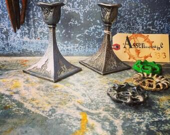 Candleholder / Art Nouveau / Silver Plated Candleholder  / Charmingly Tarnished Patina
