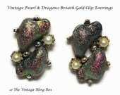 60's Pearl & Dragons Breath Gold Clip Earrings with Color Changing Beads and Seed Pearl Accents - Vintage 50s to 60s Costume Jewelry