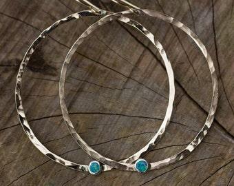 Opal Gold Filled Hammered Hoops