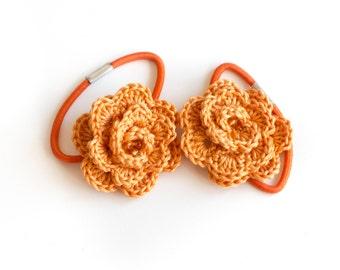 Orange crochet flower elastic hair ties - Set of 2