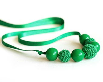 Green crochet necklace  - Funds are going to cat shelter