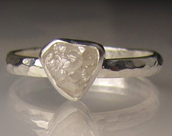 Raw Diamond Ring, White Rough Diamond Engagement Ring, Hammered Rough Diamond Ring, Palladium Sterling