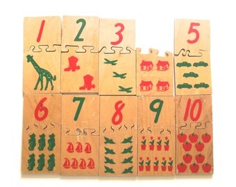 Wooden Counting Puzzle, Vintage Creative Playthings Matchmates Educational Toy (F1)