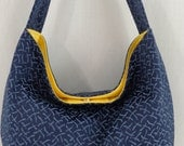 Navy with Blue Upholstery, Medium Slouchy BAG, Shoulder Purse, Small Hobo, Sling BAG