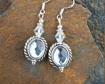 Mirror Mirror On The Wall Sterling Silver Earrings, Mirror Silver Earrings, White Crystal Sterling Silver Earrings
