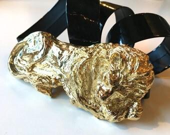 Mimi di N Lion Belt 1986 80s Gold Lion Belt Buckle   Black Patent Belt